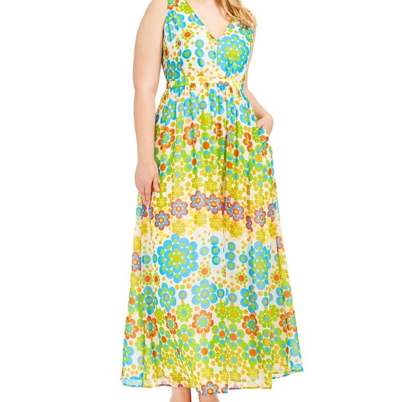 891b9396084f2b Modcloth 3X retro daisy floral long maxi dress. M_5c68f181bb76153bac39f6e6
